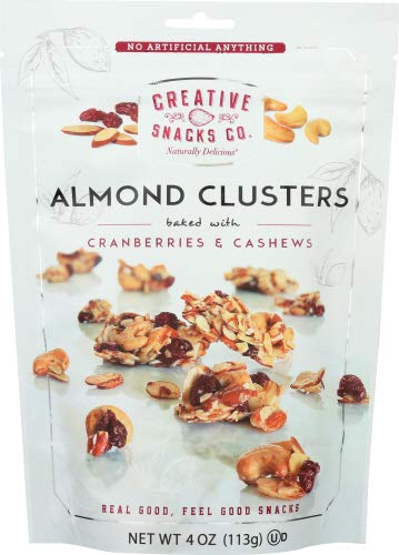 Creative Snacks Almond Cluster Cranberries & Cashews 4 OZ (Pack of 6)