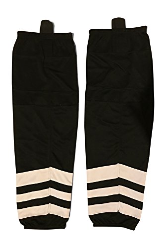 Mesh Dry-fit Hockey Socks Adult and Youth Sizes (Black/White, Large)