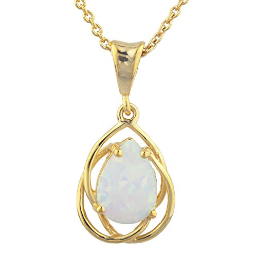 Simulated Opal Pear Teardrop Design Pendant 14Kt Yellow Gold Plated Over .925 Sterling Silver ()