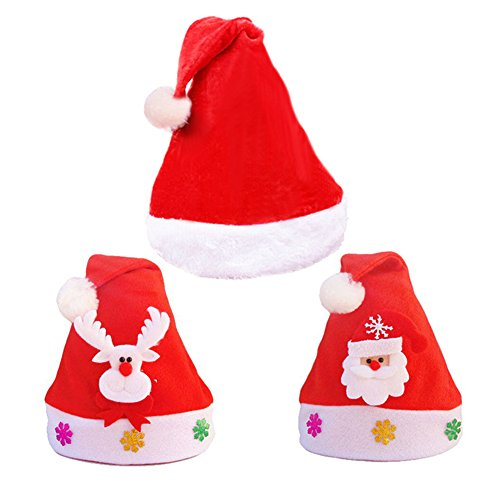 Miraculous Garden 3pcs Pleuche Lint Christmas Costume Santa Claus Hats for Adults Kids (Funny Santa Costumes)