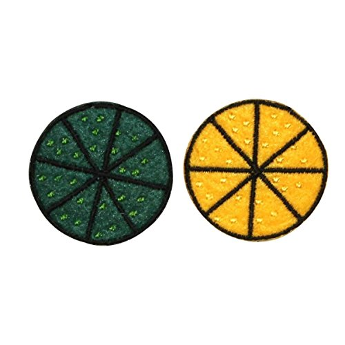 - ID 1213AB Set of 2 Felt Lemon and Lime Slice Patches Embroidered Iron On Applique