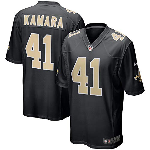 Majestic Athletic Men's New Orleans Saints #41 Alvin Kamara Football Jersey-Black (S)