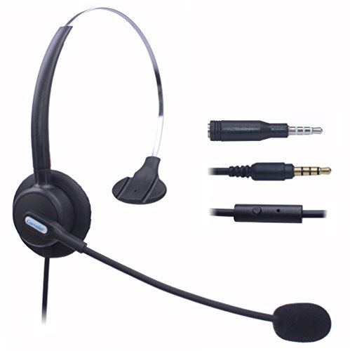 Comdio Corded Mobile Phone Headset with Flexible Noise Canceling Mic Headband for iPhone Samsung LG HTC Blackberry ZTE Cell Phone & Most Android Phones with 3.5mm Headphone Jack (Monaural H103-35M2)