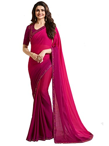 Indian Sari Fashion New Collection Designer Ethnic Simple Look Saree Starwaik 33 (Pink) (Best Designer Saree Collection)
