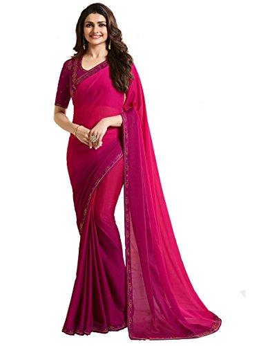 Indian Sari Fashion New Collection Designer Ethnic Simple Look Saree Starwaik 33 (Pink)