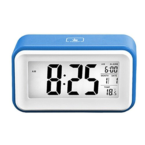 Amazon.com: Digital Alarm Clock Touch-sensitive Bedside Snooze Alarm Clock Silent Backlight Clock Large Digital Display with Date Calender Temperature ...
