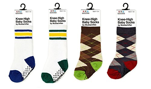 [Mustachifier Knee-High Baby Boy Socks - Set of Green, Blue, Brown/Green and Black/Red,4-Pack/0-12] (Real Fx Masks)