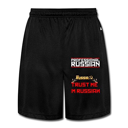 YOUARN Men's FPS Russia Professional Russian Sport Pants Black (Uts Hockey)