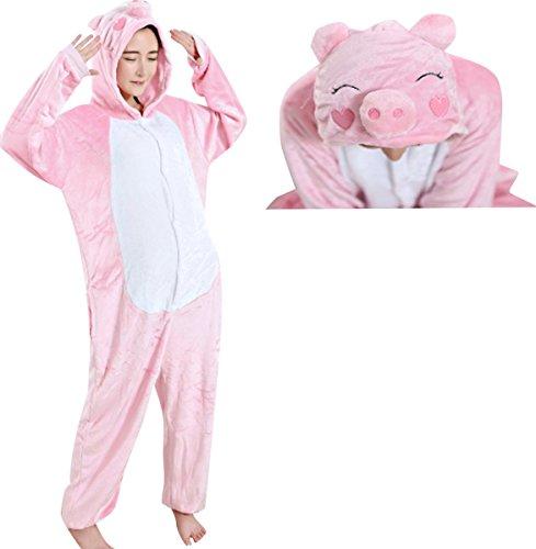 JudyBridal Unisex Cartoon Pink Pig Onesie Adult Pajamas Cosplay Costume M (Adult M&m Costumes)