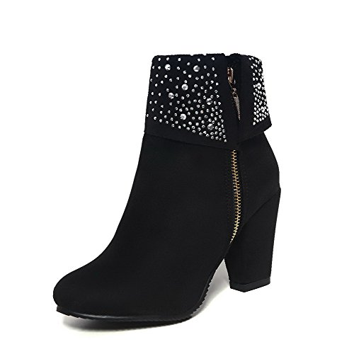 WeenFashion Round Boots High Women's Black Closed Heels Solid Toe Low Frosted Top EqrSw1vE