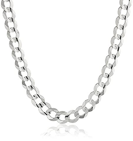 NYC Sterling Men's 8MM Solid Sterling Silver .925 Curb Link Chain Necklace, Made in Italy. (24 - Flat Curb Link Chain