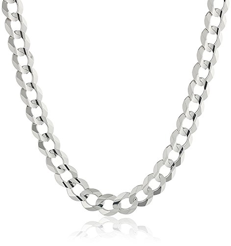 - NYC Sterling Men's 7MM Solid Sterling Silver .925 Curb Link Chain Necklace, Made in Italy. (28 Inch)