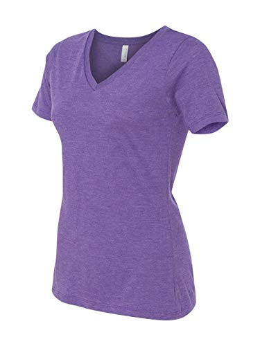 Bella + Canvas Women's Relaxed Jersey Short Sleeve V-Neck Tee, Purple Triblend, Large from Bella