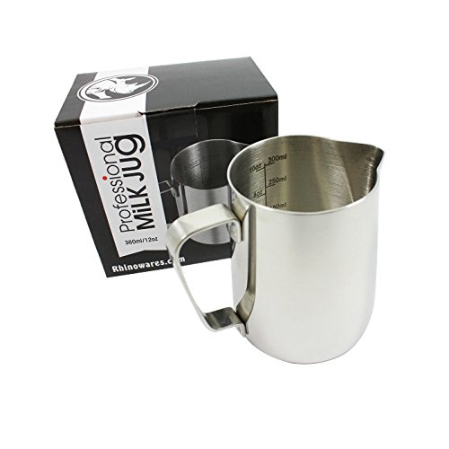 BrewGlobal Rhinoware Professional Milk Pitcher, Stainless Steel 12 oz (RHMJ12OZ) by Rhino Coffee Gear