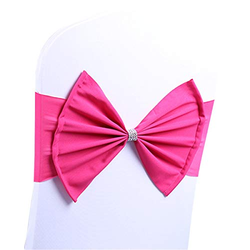 LORIE 10 pcs Gold Wedding Chair Sashes Bow Spandex Chair Cover Bands Party Chair Ribbons for Baby Shower Banquet Christmas Thanksgiving Decorations (50, Fuchsia)