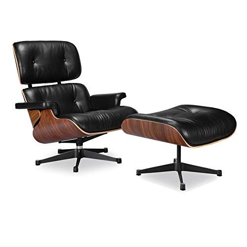 Soho Modern Style Premium Reproduction Lounge Chair - Mid Century Modern Chair and Ottoman, 3 Leather Options, 2 Veneer Options (Italian Leather) ()