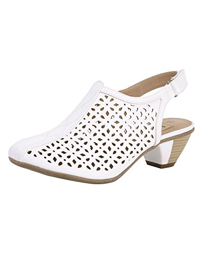 Cotton Traders Womens Ladies Heeled Slingback Sandals E Fit White IaZk3cdI
