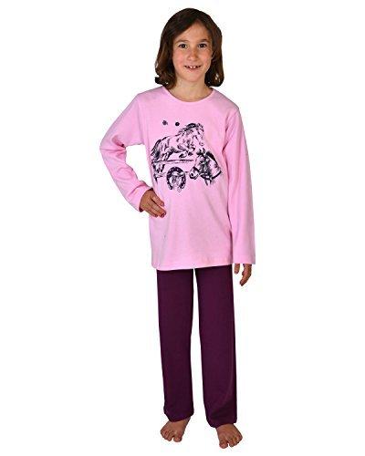 Pijamas largos para chicas 2 piezas El mundo del caballo color rosa,tallas 116-