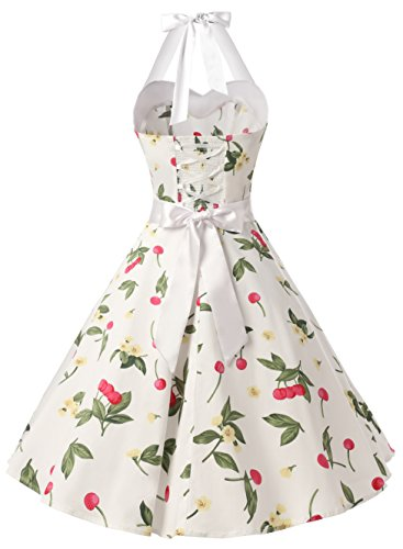 Polka Small Cherry Retro 1950s Dress Audrey Rockabilly White Cocktail DRESSTELLS Vintage Dress Dots Ptf7npS