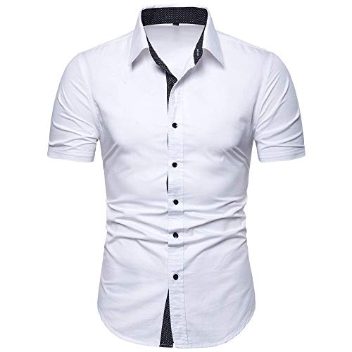 - MUSE FATH Men's Casual Cotton Short Sleeve Button Down Wedding Dress Shirt-White C73-L