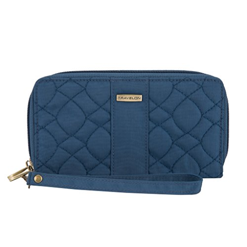 And 1 Quilted Wallet - Travelon RFID Blocking Signature Quilted Double Zip Clutch Wallet, Ocean
