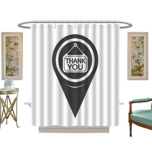 Iuvolux Shower CurtainMap Pointer Thank You Icon1. Mildew Resistant Waterproof with 12 Hooks W54 x H78 Inch ()