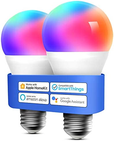 Smart Light Bulb, meross Smart WiFi LED Bulbs Compatible with Apple HomePackage, Siri, Alexa, Google Assistant and SmartIssues, Dimmable E26 Multicolor 2700K-6500K RGB, 810 Lumens 60W Equivalent, 2 Pack