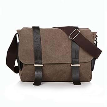 Mens Bag Color: Army Green Leisure Retro Briefcase Zipper Waterproof Canvas Crossbody Shoulder Bag High capacity (Color : Coffee color)