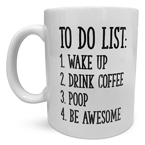 Funny Coffee Mug by Find Funny Gift Ideas | Unique Novelty Coffee Mugs for Men | Funny Coffee Mugs for Women | To Do List Wake Up Drink Coffee Poop Be Awesome | Great Coffee Gift