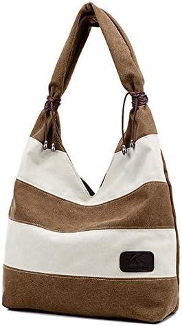 女性のカジュアルストライプキャンバスハンドバッグ容量ショルダーバッグコントラストカラー YZUEYT