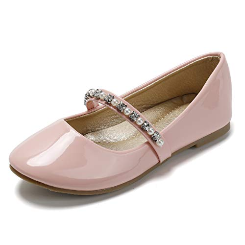 SANDALUP Little Girls Dress Shoes Ballet Flats Inlaid with Pearl and Rhinestone Strap Patent Pink 003