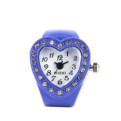FEDULK Womens Heart Ring Watch Finger Elastic Light Luxury Quartz Watch Good Gift for Girls Ladies(Blue, One Size) ()