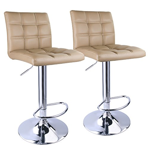 Leopard Adjustable Bar Stools Square Back, Leather Padded with Back, Set of 2 (Khaki) (Top Stone Set Patio)