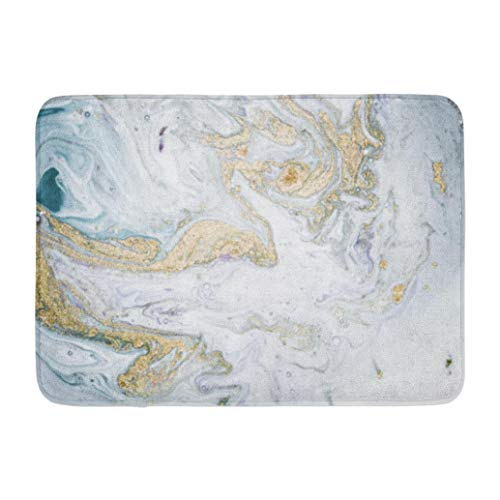 Marbles,Darkchocl Decorative Bath Mat Natural Luxury Ancient Oriental Marble Absorbent Non Slip 100% Flannel 17''L x 24''W for Bathroom Toilet Bath Tub Living Room
