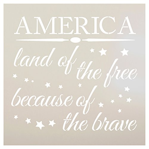 America - Land of The Free Stencil by StudioR12 | Patriotic Word Art - Reusable Mylar Template | Painting, Chalk, Mixed Media | Use for Crafting, DIY Home Decor- STCL1233 SELECT SIZE (12'' x 12'') by Studio R 12