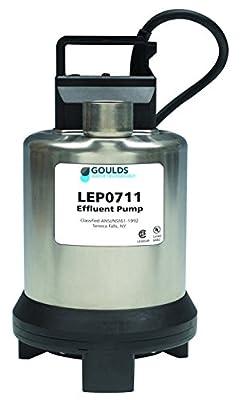 Goulds LEP0712AF Submersible Effluent Pump, 3/4 HP, 230 V, Single Phase, 3.4 Max Amps