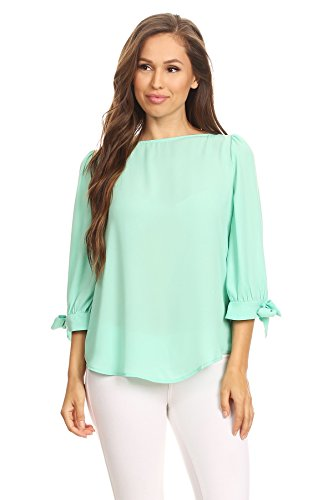 Blouse Mint - Via Jay Basic Casual Relaxed Loose 3/4 Sleeve Blouse Top (Mint, Small)