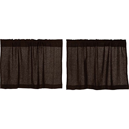 VHC Brands Rustic & Lodge Kitchen Window Curtains – Burlap Brown Tier Pair, Chocolate, L24 x W36