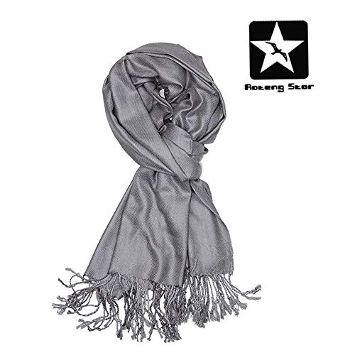 AOTENG STAR Large Soft Silky Pashmina Shawl Wrap Scarf in Solid Colors