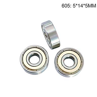 Color: 605 Fevas Urijk 10pcs//Set Double Shielded Carbon Steel Miniature Deep Groove Skateboard Ball Bearings 604 605 606 607 608 609 Ball Bearing