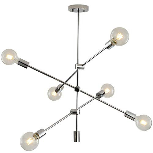 Sputnik Chandelier 6 Lights Modern Pendant Lighting Chrome Finish Contemporary Chandeliers Light Finture Semi Flush Mount Ceiling Light Mid Century Modern Pendant Lighting for Kitchen Dining Room