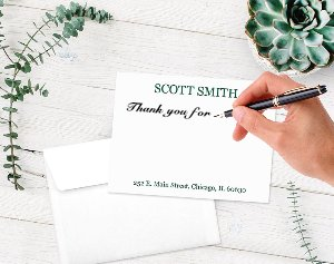 5'' x 7'' Custom Printed Flat Note Cards-100 Thick 120lb (14pt) White Paper & Matching Envelopes-Personalize & Choose Ink Colors. Business, Personal-Thank You Stationery by Your Print Shop (Image #2)