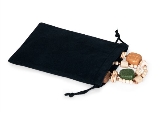 BLACK Jewelry Pouches 4''x5-1/2''Velour with cord drawstrings 5 unit, 25 pack per unit.