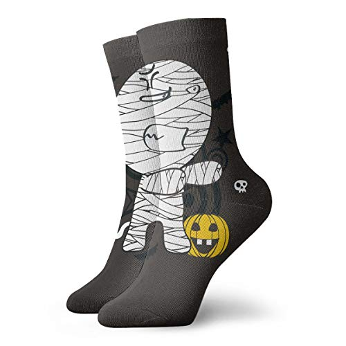 SARA NELL Novelty Funny Crazy Crew Sock Halloween Mummy Pumpkin Printed Sport Athletic Socks 30cm Long Dress Socks Personalized Gift Socks Men Women ()