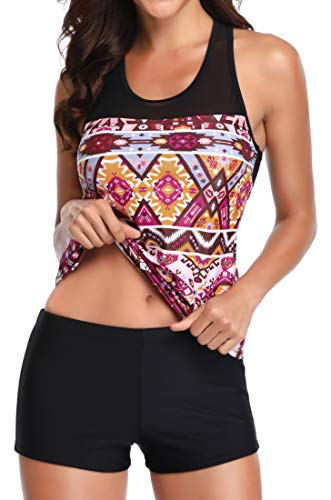 Yonique Racerback Tankini Set Mandala Printed Top with Boyshort Two Piece Swimsuits for Women -