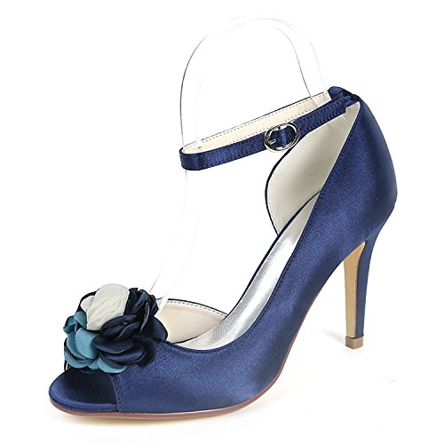 L@YC Zapatos De Boda De Mujer Tacones Bajos de 9 Cm Tacones Bajos SatéN Noche De Seda Chunky Sandalias/Court Shoes Navy Blue
