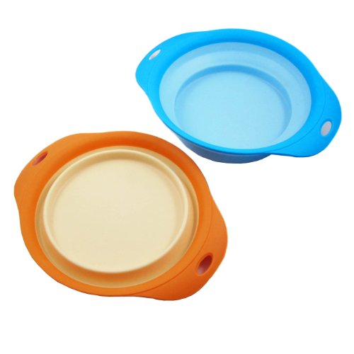 Alfie Pet by Petoga Couture – Set of 2 Jad Silicone Pet Expandable/Collapsible Travel Bowl – Size: 3.5 Cups, Colors: Blue and Orange, My Pet Supplies