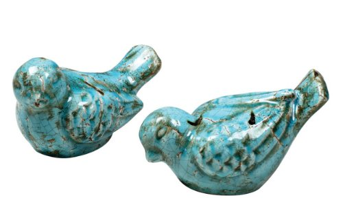 Set Terra Cotta Teal Birds
