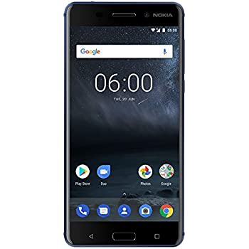 "Nokia 6 - Android 8.0 - 32 GB - 16MP Camera - Dual SIM Unlocked Smartphone (AT&T/T-Mobile/MetroPCS/Cricket/H2O) - 5.5"" FHD Screen - Blue - U.S. Warranty"