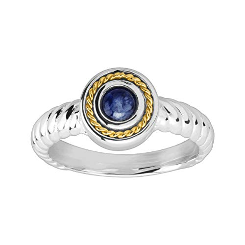 Silpada 'Harvest Moon' Natural Sodalite Ring in Sterling Silver & 14K Gold -